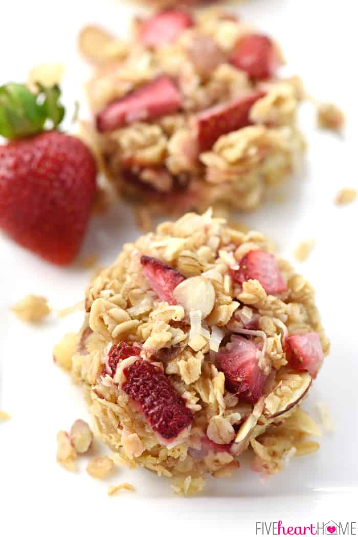 Close-up of two Strawberry Baked Oatmeal Cups.