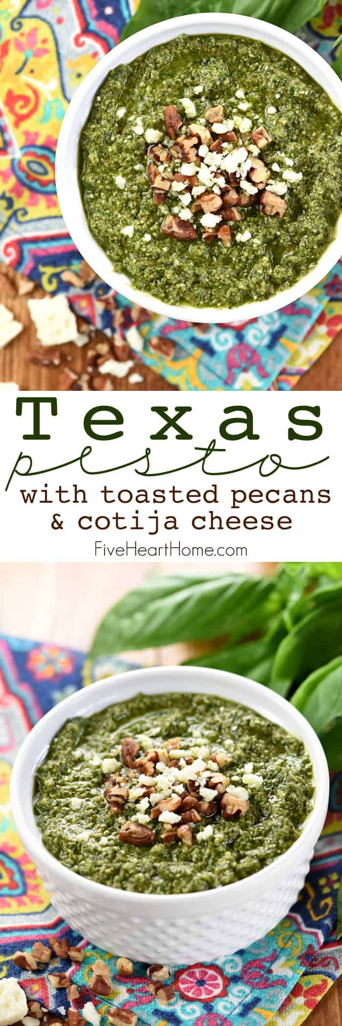 Texas Pesto ~ traditional pesto gets a Texas twist in this flavorful recipe featuring toasted pecans and Cotija cheese, perfect for slathering on bruschetta, tossing with pasta, jazzing up veggies, and so much more! | FiveHeartHome.com