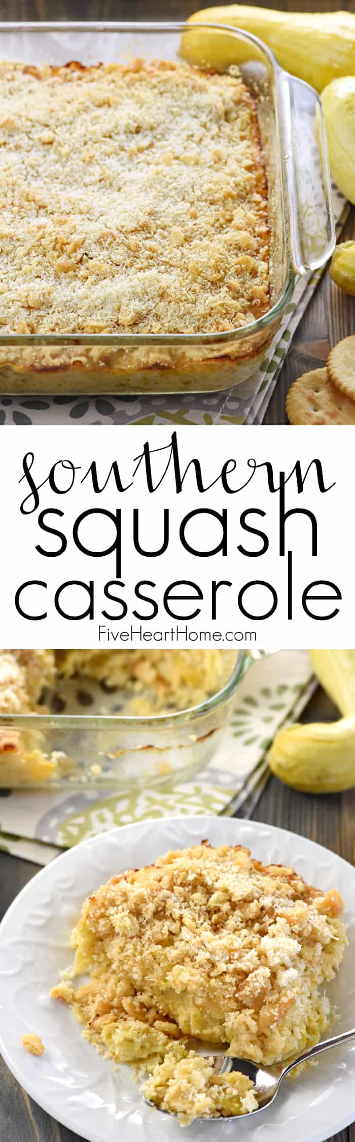 Southern Squash Casserole Collage with Text Overlay