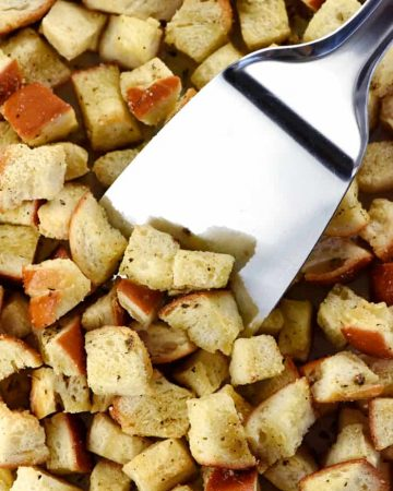 Homemade Herbed Garlic Croutons ~ easy to make and a crunchy, flavorful way to jazz up your favorite salad and soup recipes, from Caesar Salad to Tomato Soup...add Parmesan to make them even more special! | FiveHeartHome.com