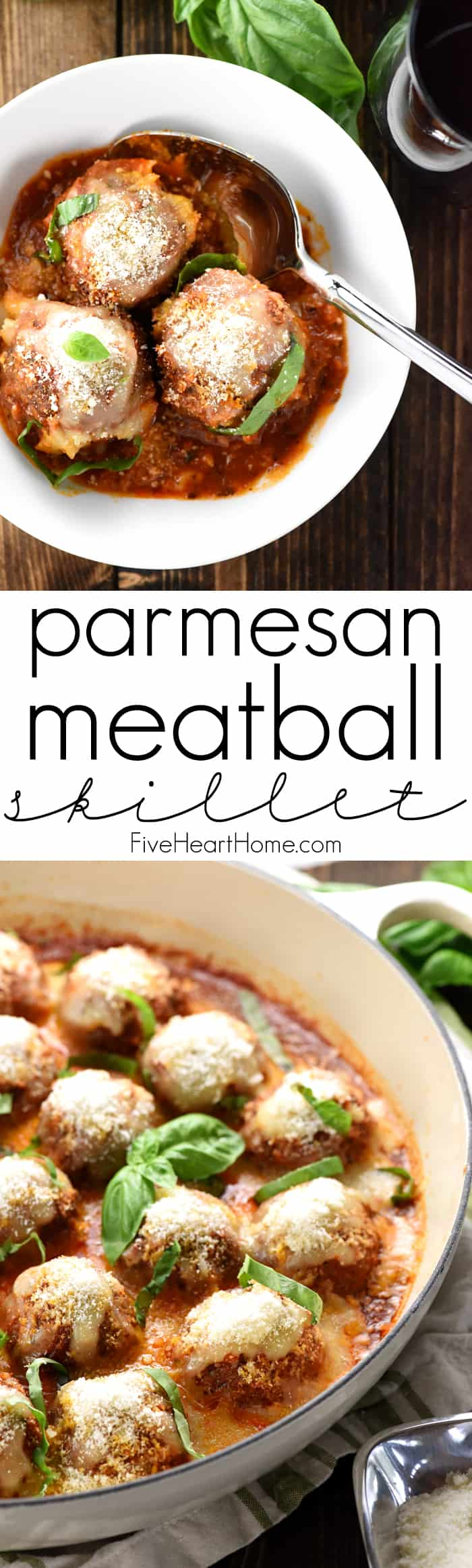 Parmesan Meatball Skillet ~ this easy-to-make, family-pleasing ground beef recipe features tender baked meatballs simmered in marinara and smothered with cheese, delicious served over pasta or piled on meatball subs! | FiveHeartHome.com
