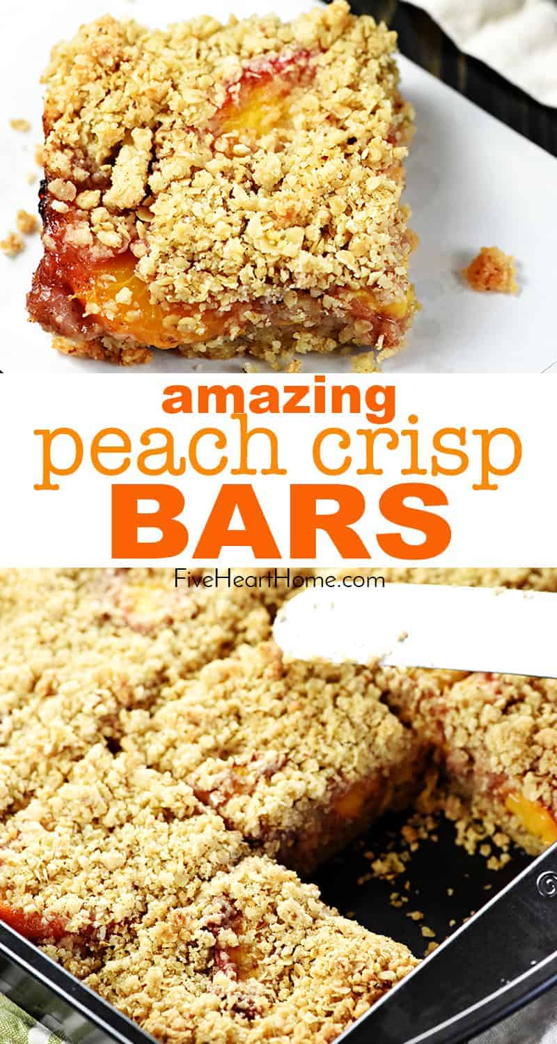 Peach Crisp Bars collage with text overlay