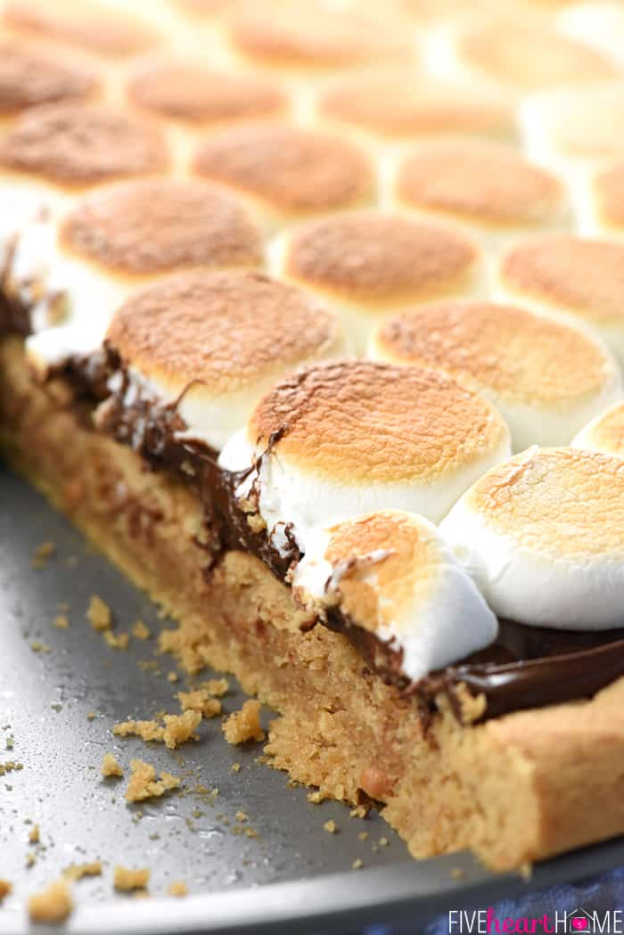 Peanut Butter Cookie S'mores Pizza for Dessert or Summer Parties