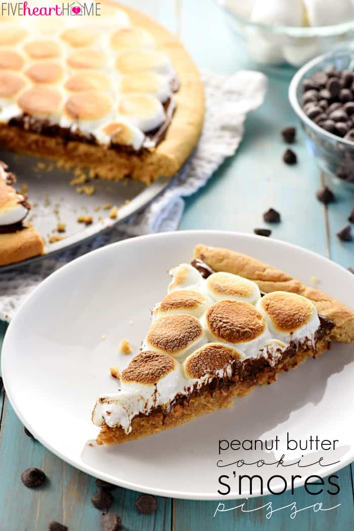 Peanut Butter Cookie S'mores Pizza with Text Overlay