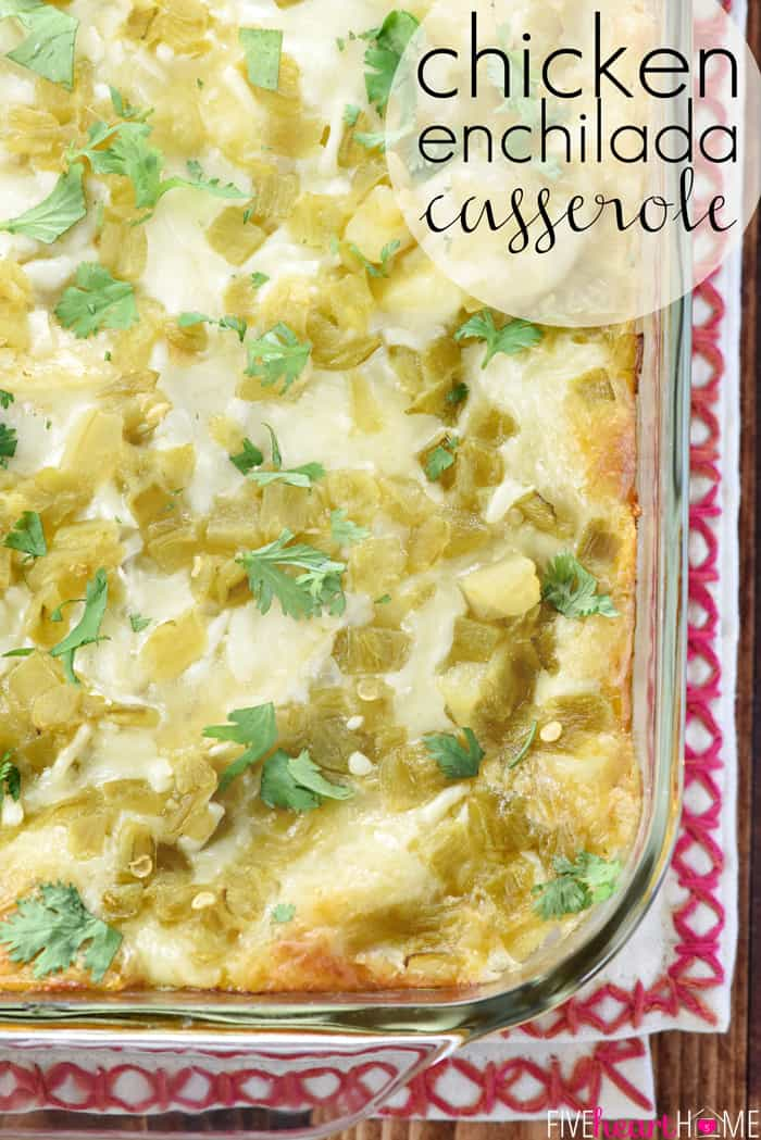 Chicken Enchilada Casserole with Text Overlay