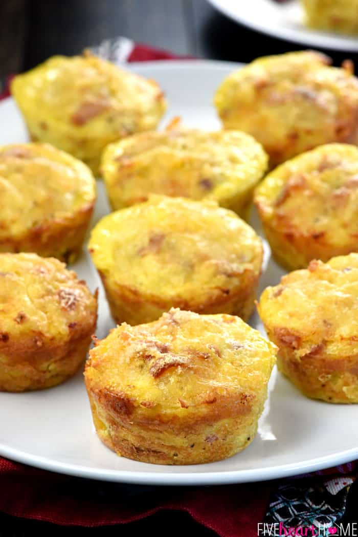 "Bacon, Potato, & Cheese Mini Frittatas ~ savory, fluffy ""egg muffins"" loaded with crispy diced bacon, hash browns, and grated cheddar and baked in muffin pans for a filling and protein-packed breakfast or brunch! 