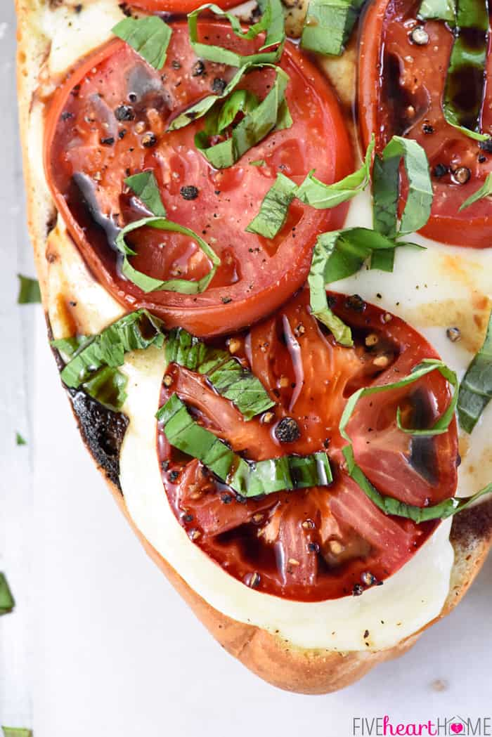 Aerial View Caprese French Bread Pizza with Basil