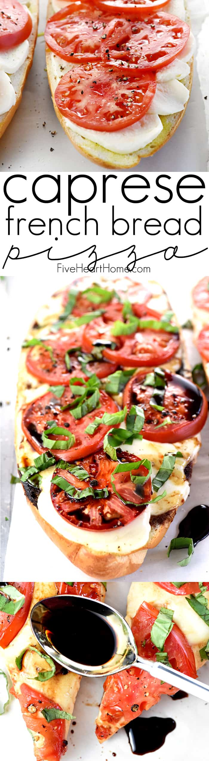 Caprese French Bread Pizza Collage with Text Overlay