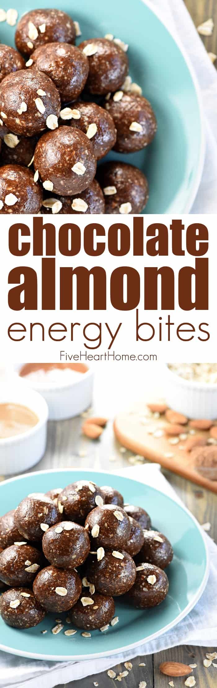 Chocolate Almond Energy Bites ~ ground almonds and oats are combined with almond butter, honey, cocoa powder, and chia seeds in these wholesome, protein-packed energy balls, perfect for a quick snack or breakfast on-the-go! | FiveHeartHome.com