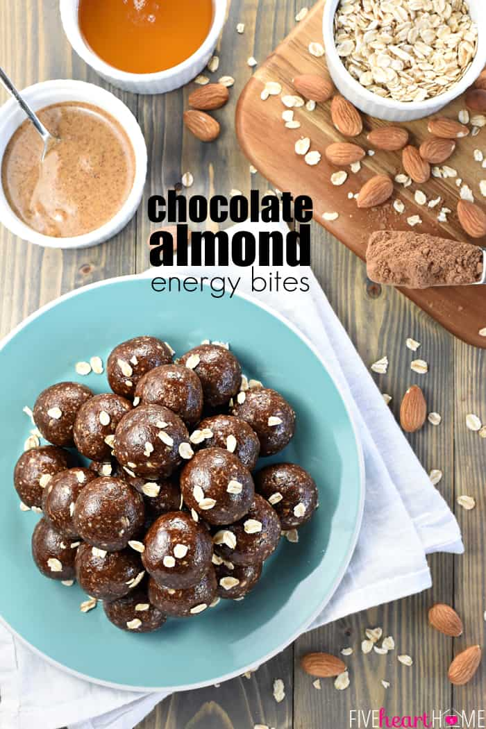 Chocolate Almond Energy Bites ~ ground almonds and oats are combined with almond butter, honey, cocoa powder, and chia seeds in these wholesome, protein-packed energy balls, perfect for a quick snack or breakfast on-the-go!   FiveHeartHome.com