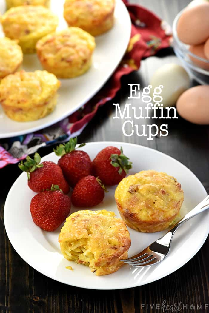 Egg Muffin Cups, scene on table with text overlay.
