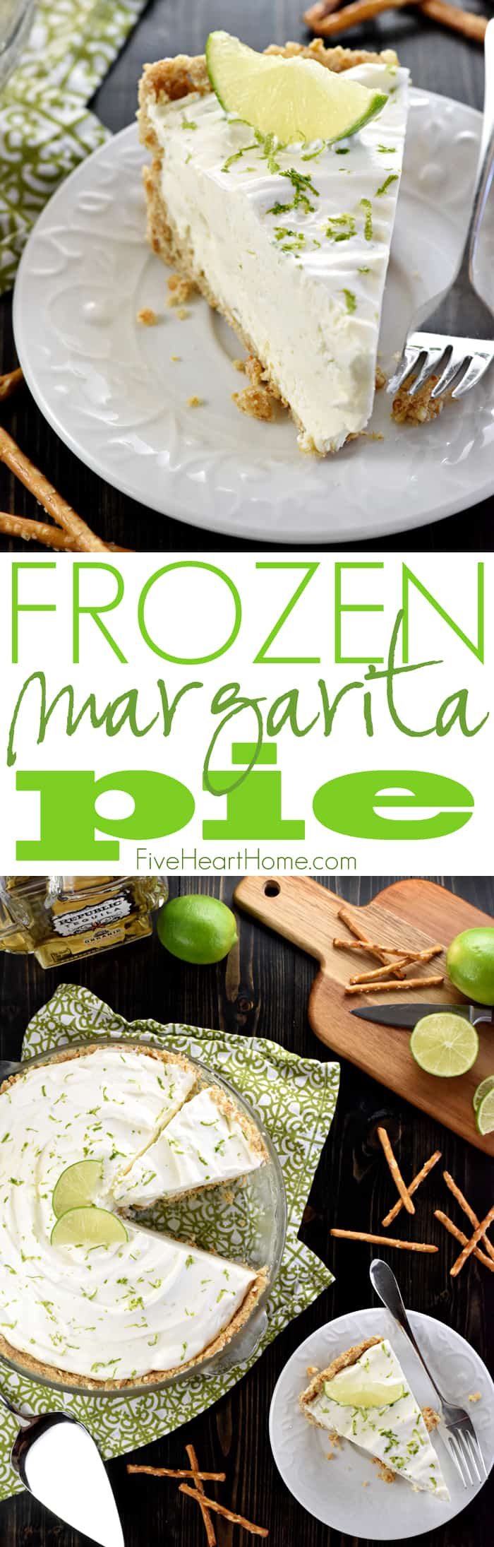 No-Bake Frozen Margarita Pie ~ cool and creamy, with a salty-sweet pretzel crust and a frosty filling flavored with fresh lime juice, tequila, and triple sec...or leave out the liquor and boost the lime juice for a family-friendly variation! | FiveHeartHome.com via @fivehearthome