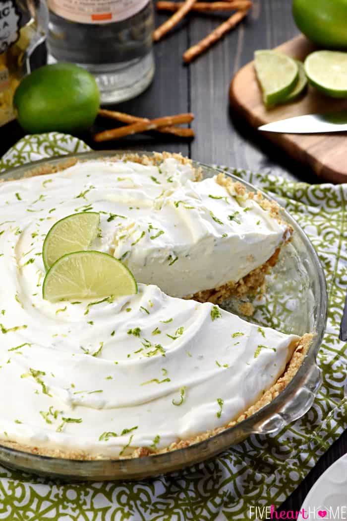 Close-Up with Slice Taken Out of No-Bake Frozen Margarita Pie