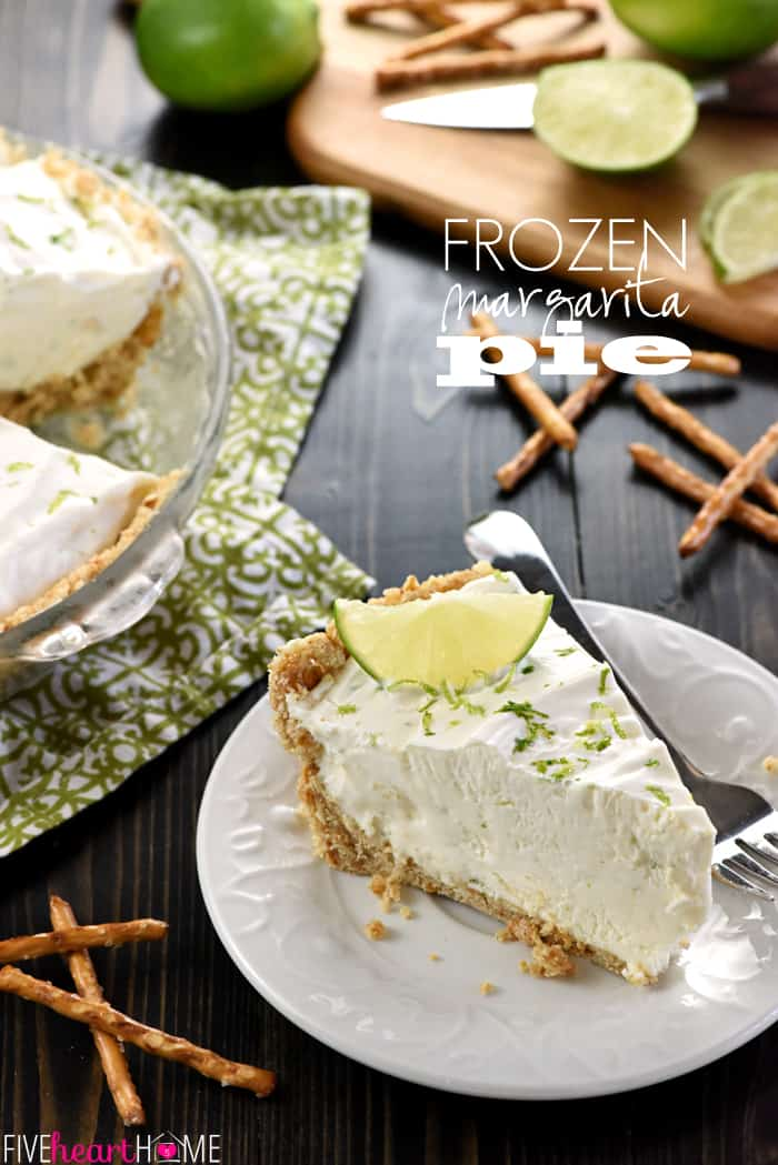 No-Bake Frozen Margarita Pie ~ cool and creamy, with a salty-sweet pretzel crust and a frosty filling flavored with fresh lime juice, tequila, and triple sec...or leave out the liquor and boost the lime juice for a family-friendly variation! | FiveHeartHome.com