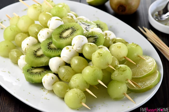 Fruit & Mozzarella Skewers with Honey Lime Drizzle