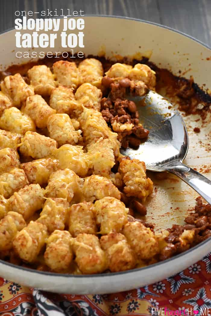 One-Skillet Sloppy Joe Tater Tot Casserole with Text Overlay