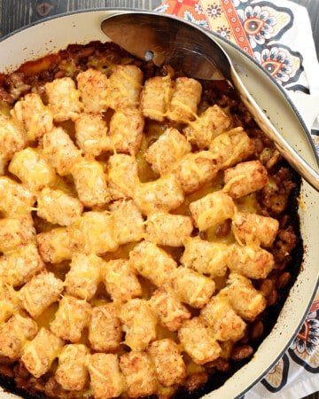 Aerial view of Sloppy Joe Tater Tot Casserole in skillet.