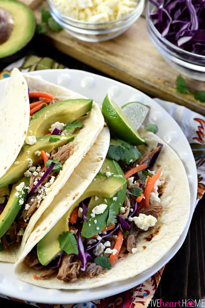 Close-Up of Slow Cooker Honey Lime Pulled Pork Tacos