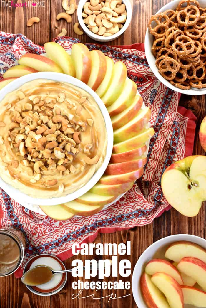 Caramel Apple Cheesecake Dip with Text Overlay