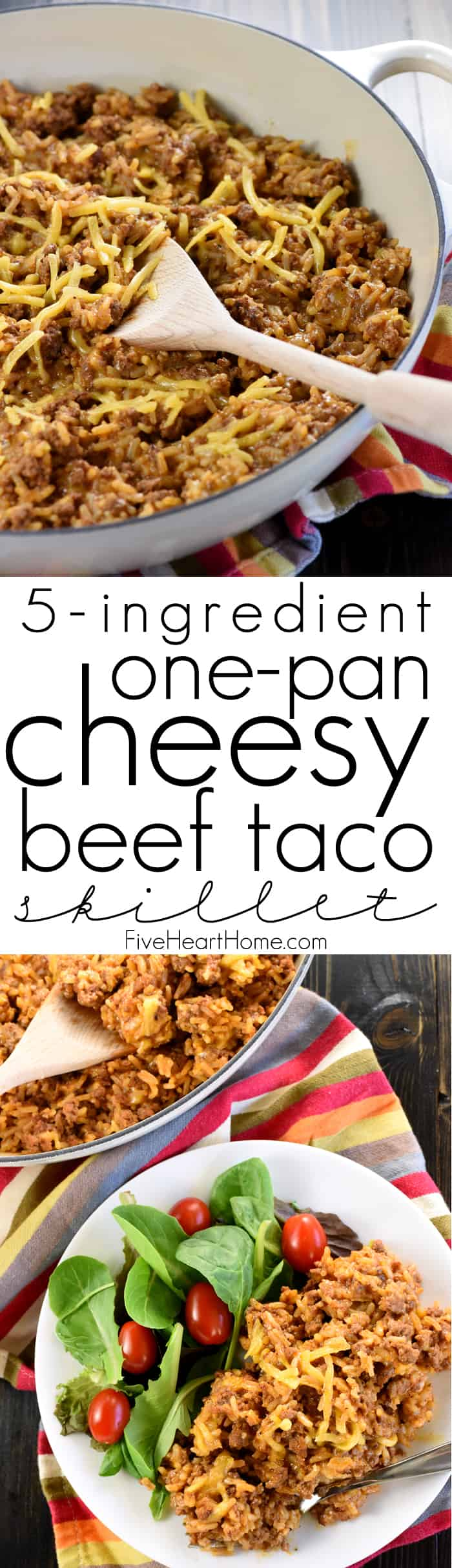 Taco Hamburger Helper ~ this from-scratch copycat recipe is a quick, easy, one-pan dinner made with just FIVE real, all-natural ingredients! | FiveHeartHome.com
