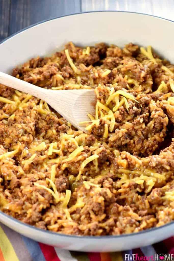 One-Pan Cheesy Beef Taco Skillet {Homemade Hamburger Helper}
