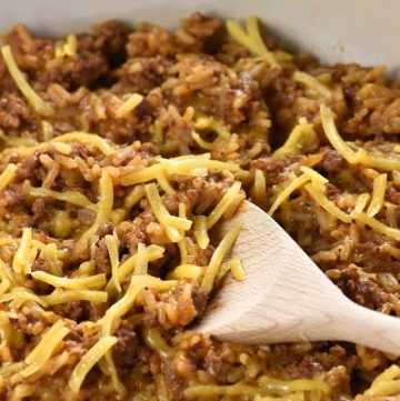 One-Pan Cheesy Beef Taco Skillet {Homemade Hamburger Helper} ~ a quick and easy dinner recipe made with five real, all-natural ingredients!   FiveHeartHome.com
