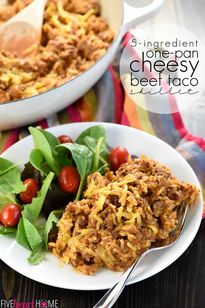 Taco Hamburger Helper on a plate with a salad, the skillet in the background, and text overlay