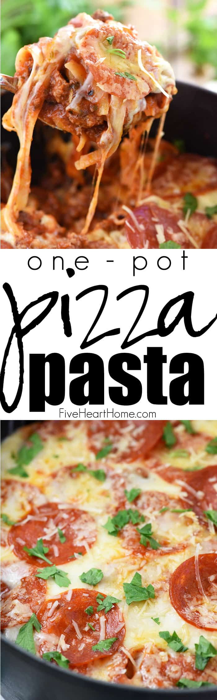 One-Pot Pizza Pasta ~ an easy, cheesy, comforting dinner recipe loaded with flavor thanks to all of your favorite pizza toppings...and as a bonus, everything gets cooked in the same pot! | FiveHeartHome.com