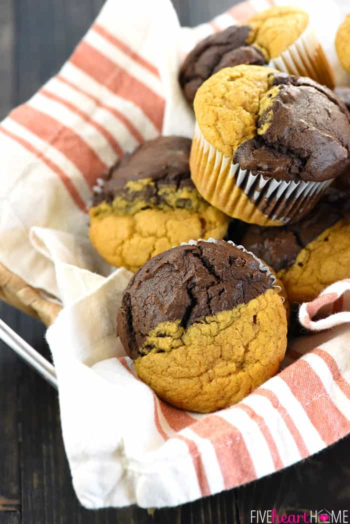 Pumpkin Bread & Chocolate Muffins ~ soft, moist, and double the fun, split between lightly-spiced pumpkin and a generous dose of chocolate!   FiveHeartHome.com