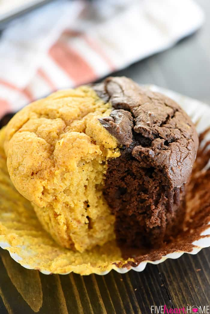 Pumpkin Bread & Chocolate Muffins ~ soft, moist, and double the fun, split between lightly-spiced pumpkin and a generous dose of chocolate! | FiveHeartHome.com