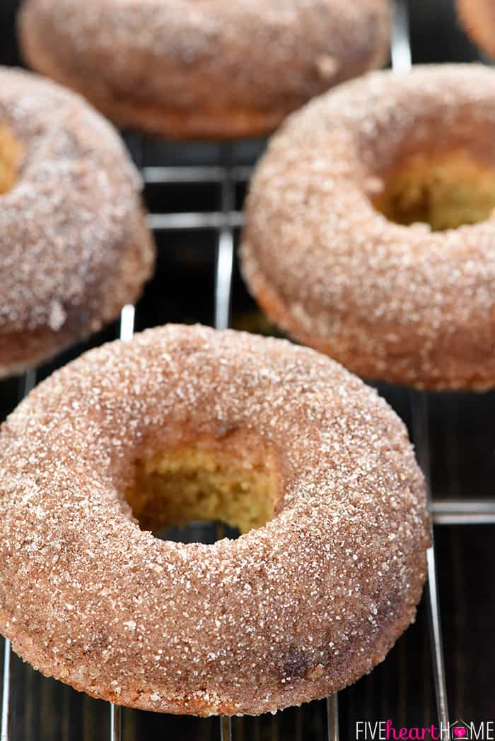 Apple Cider Baked Donuts Close-Up on Wire Rack
