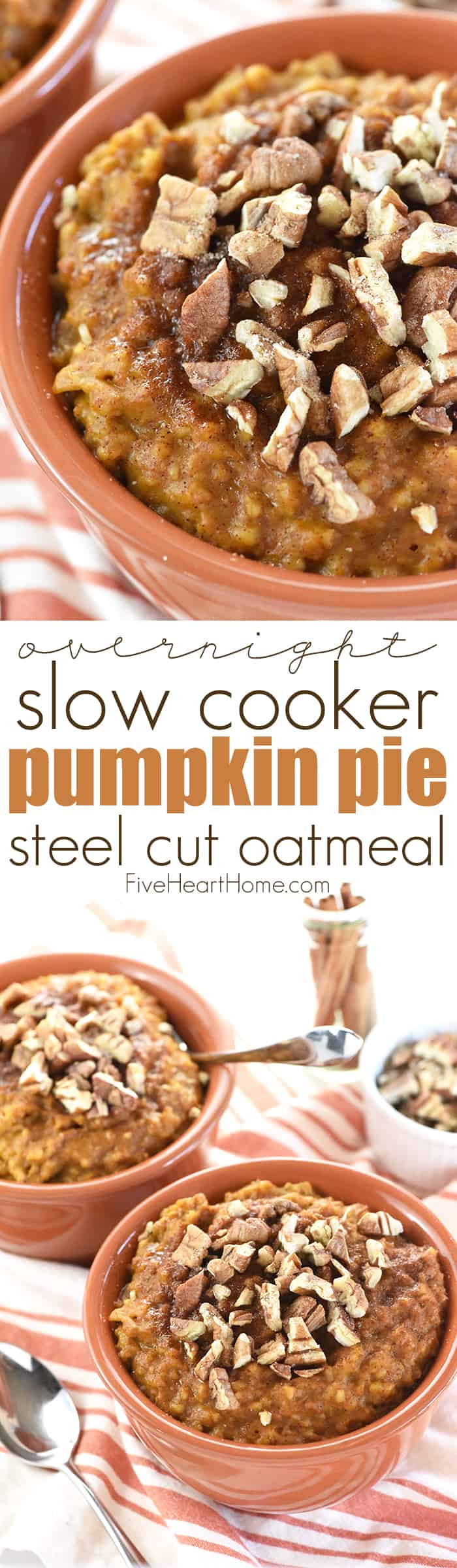 Overnight Slow Cooker Pumpkin Pie Steel Cut Oatmeal Collage with Text Overlay