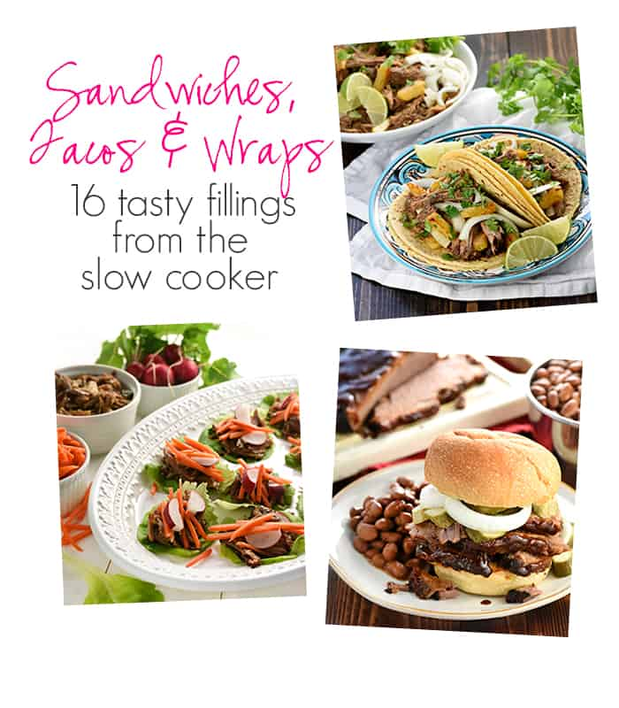 Real Food Slow Cooker Suppers Cookbook: Sandwiches, Tacos & Wraps ~ 16 tasty fillings from the slow cooker | FiveHeartHome.com