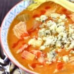 Slow Cooker Buffalo Chicken Soup ~ the bold flavors of Buffalo wings come together in this zippy, creamy, easy-to-whip-up, crock pot recipe...perfect for serving on game day or for warming up on a chilly fall or winter evening! | FiveHeartHome.com