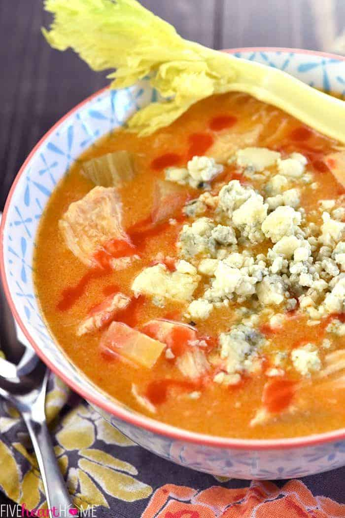 Slow Cooker Buffalo Chicken Soup ~ the bold flavors of Buffalo wings come together in this zippy, creamy, easy-to-whip-up, crock pot recipe...perfect for serving on game day or for warming up on a chilly fall or winter evening!   FiveHeartHome.com
