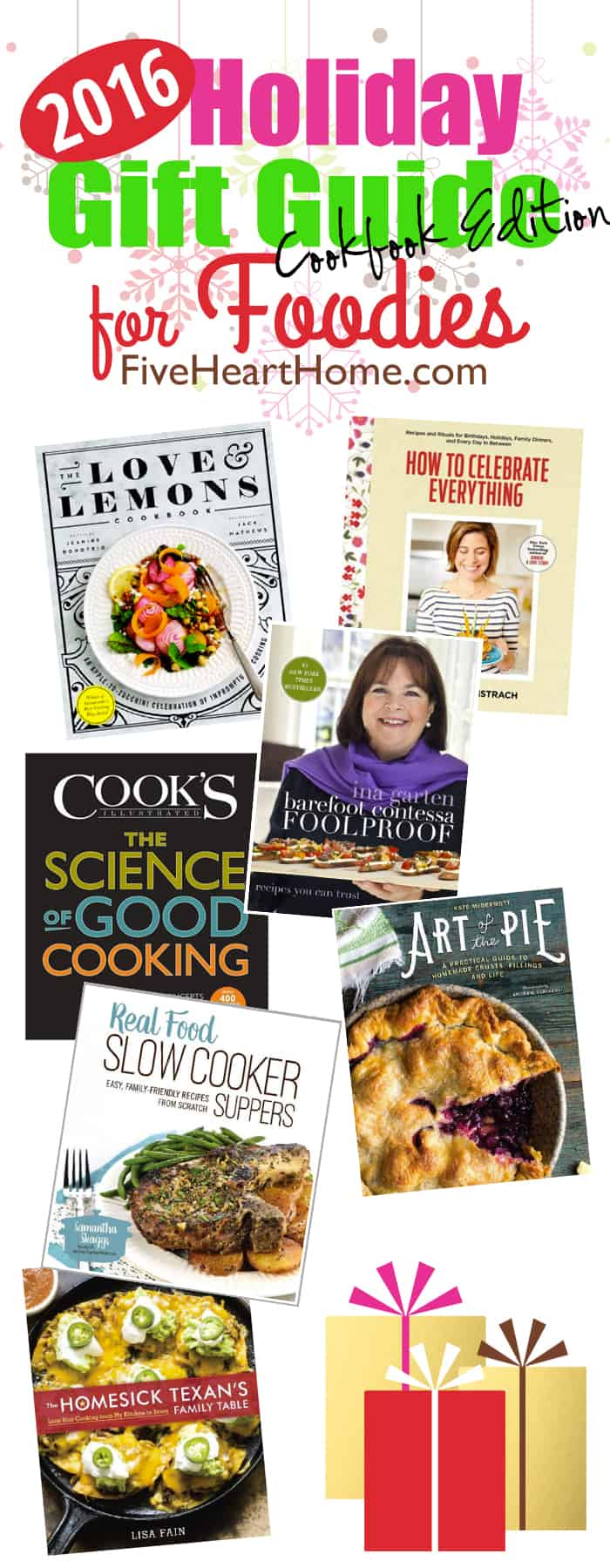 Best Cookbooks for Gifts! ~ 2016 Holiday Gift Guide for Foodies | FiveHeartHome.com