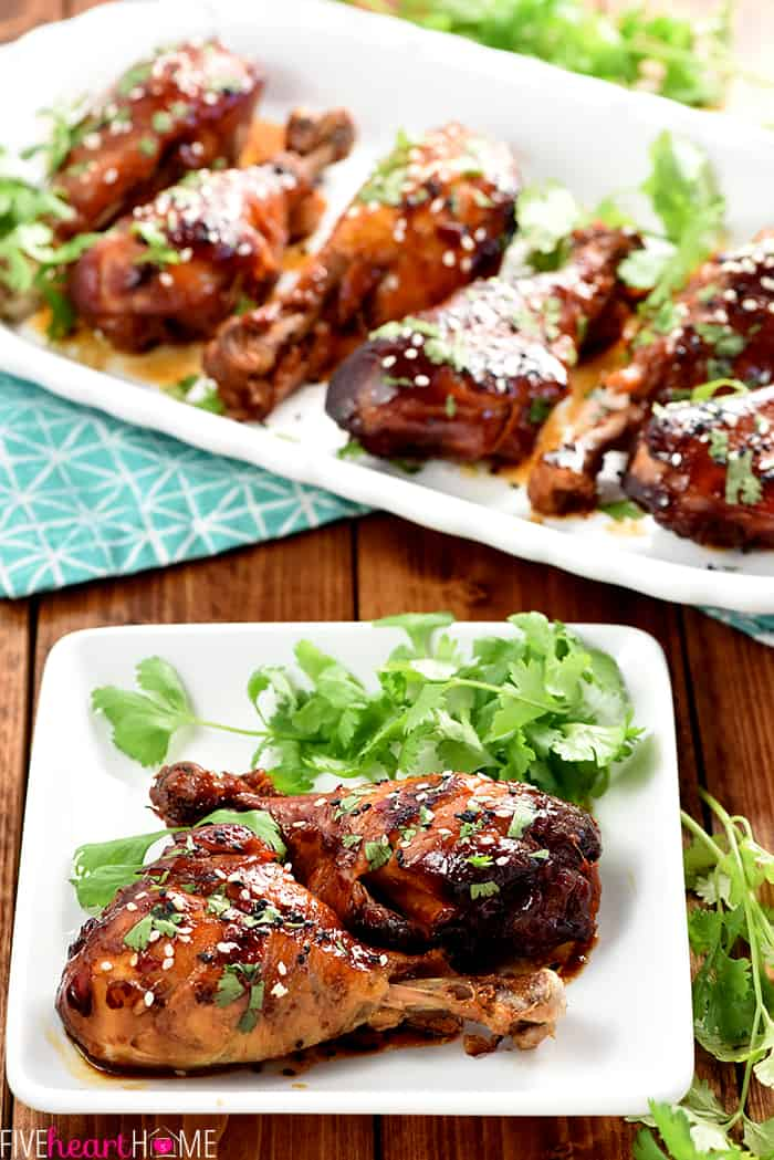 Slow Cooker Sweet Chili Drumsticks ~ this chicken recipe starts with a simple marinade of soy sauce, Thai sweet chili sauce, and ginger, then slow cooks until tender for an effortless, sweet-and-savory, Asian dinner that's healthier and more economical than take-out! | FiveHeartHome.com