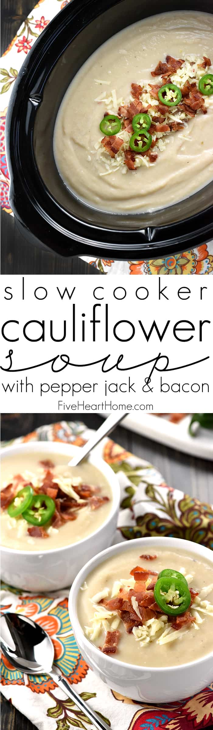 Slow Cooker Cauliflower Soup with Pepper Jack & Bacon ~ a creamy, silky, crock pot soup that balances healthy, vitamin-packed cauliflower with zesty cheese and decadent bacon...and since it starts with frozen cauliflower, it couldn't be any simpler to make! | FiveHeartHome.com