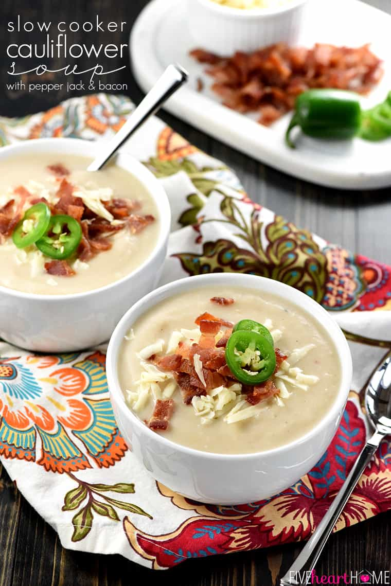 Slow Cooker Cauliflower Soup with Text Overlay