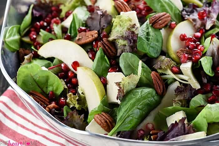 Pomegranate, Pear, Pecan, & Brie Salad ~ AKA, Thanksgiving Salad
