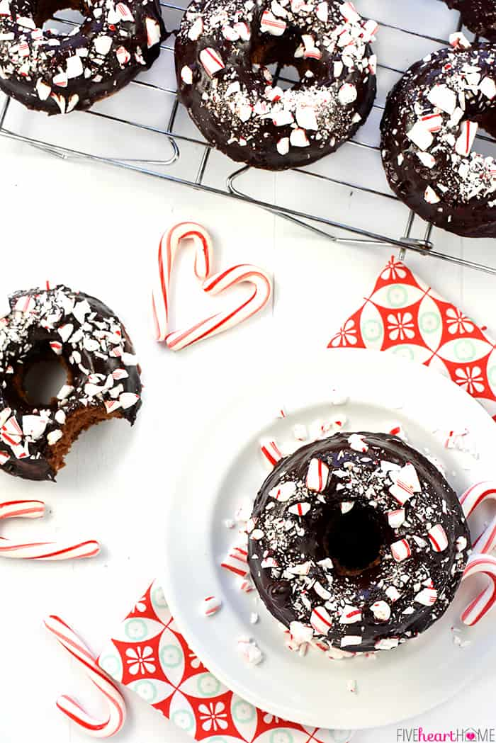 Aerial View of Chocolate Peppermint Baked Donuts with a Heart Made Out of Candy Canes