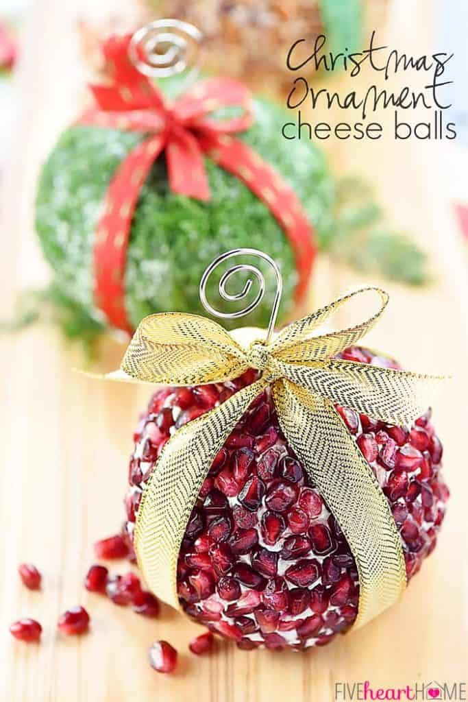 Christmas Ornament Cheese Balls ~ a fun, festive addition to your holiday party menu in three mouthwatering flavors -- Cranberry, Blue Cheese, & Pecan; Garlic, Feta, & Dill; and White Cheddar, Rosemary, & Pomegranate!   FiveHeartHome.com