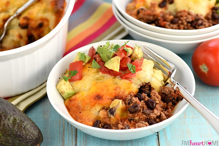 Taco Shepherd's Pie with Avocado Tomato Salad