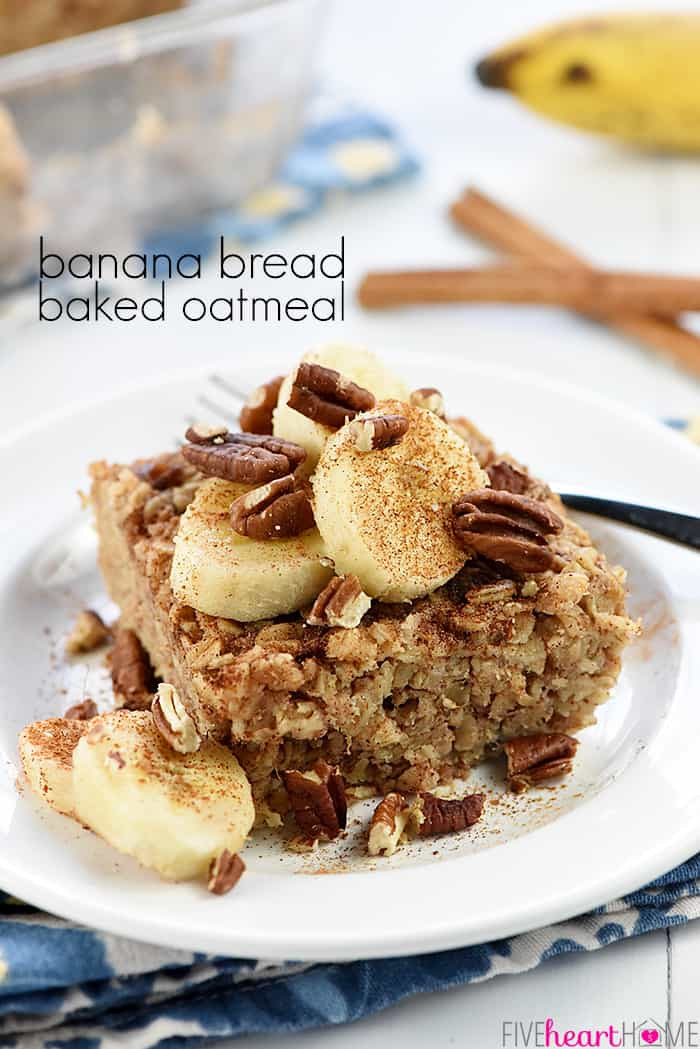 Banana Baked Oatmeal with text overlay.