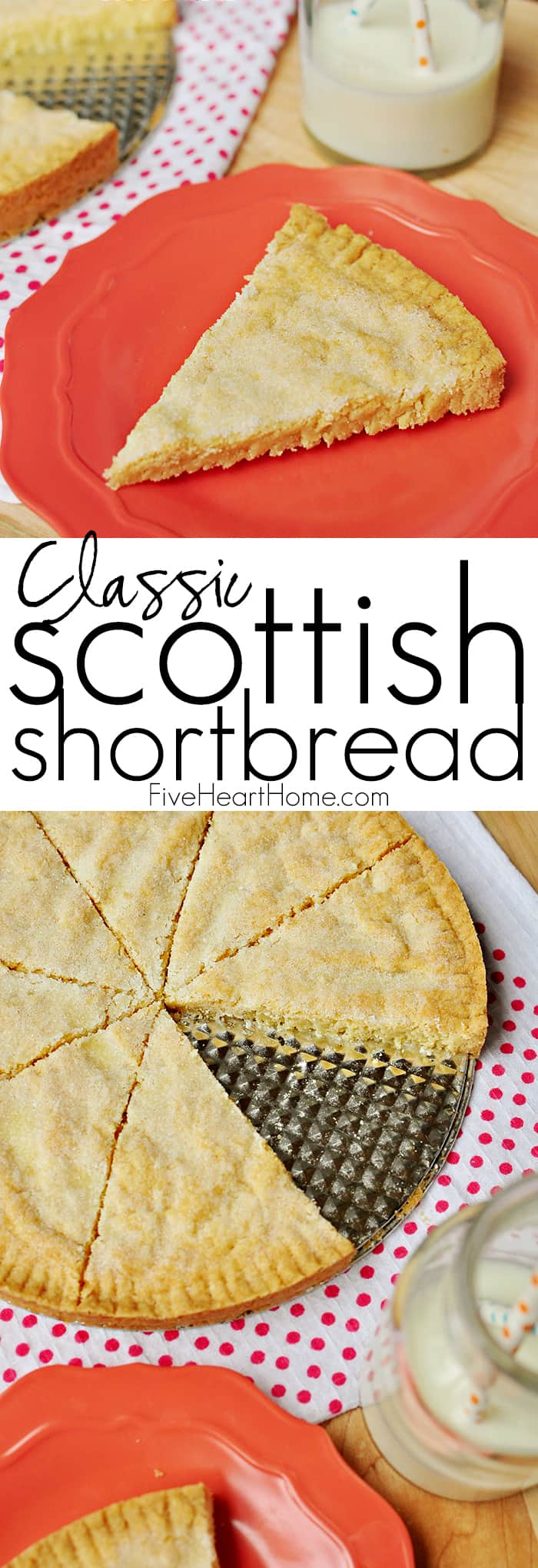 Classic Scottish Shortbread ~ rich, buttery shortbread comes together with just five simple ingredients and is oven-ready in less than five minutes! | FiveHeartHome.com