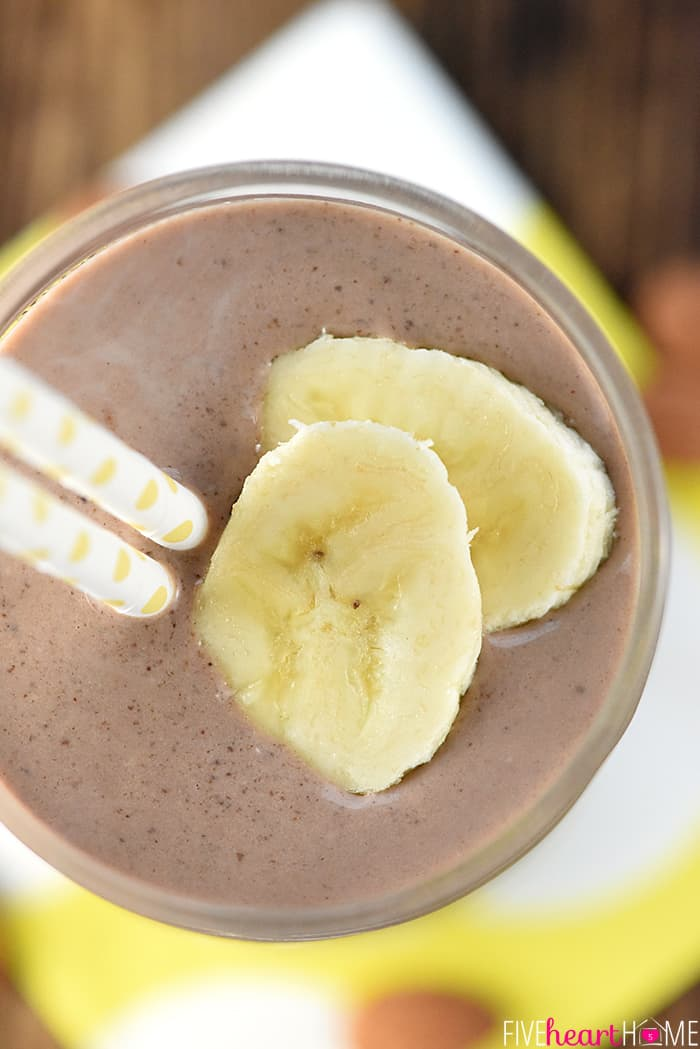 Chocolate Banana Almond Butter Smoothie Aerial View with Sliced Bananas