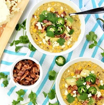Aerial view of bowls of Slow Cooker Mexican Street Corn Chowder.