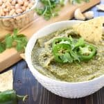 White Bean Dip with Jalapeño & Cilantro ~ a creamy, zesty party appetizer when served with tortilla chips…or a healthy, flavor-packed dip for enjoying raw veggies! | FiveHeartHome.com