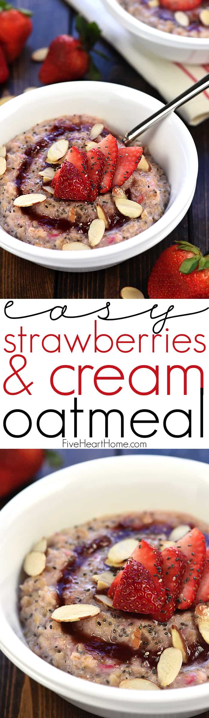 Healthy Strawberries & Cream Oatmeal Collage with Text Overlay