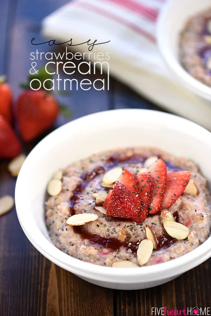 Healthy Strawberries & Cream Oatmeal with Text Overlay